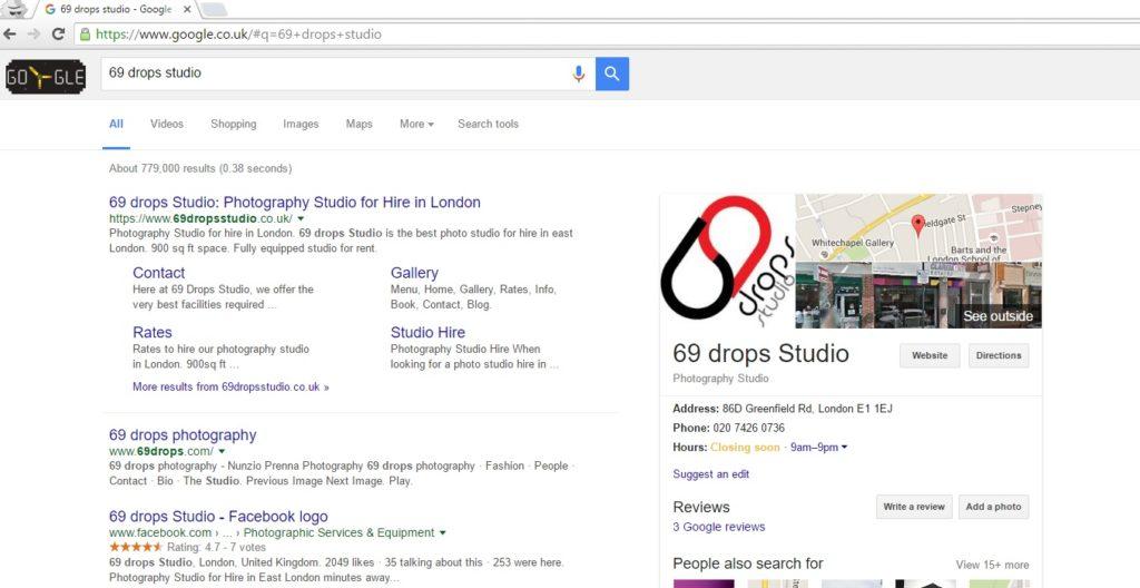 69 drops Studio – Optimization for photography studio hire in London